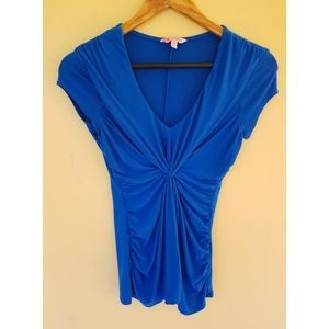 Candies Blue Short-sleeved Juniors Ruched Top XS